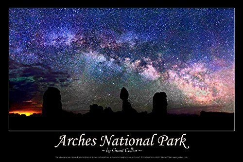 Arches National Park, Milky Way Over Balanced Rock Astronomy Poster Balanced Rock Arches National Park