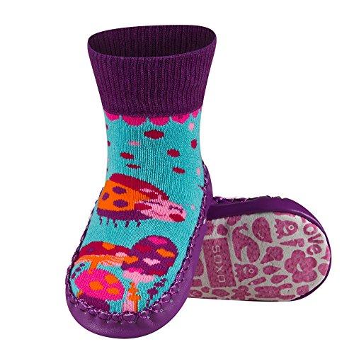 Sevira Kids - Calcetines con suela de piel para bebés de 0 a 24 meses, talla europea 19-21, diferentes colores multicolor Lapin 1 Talla:talla: 19-21 (bebé 0-24 meses, 13 cm) Fille 2-B