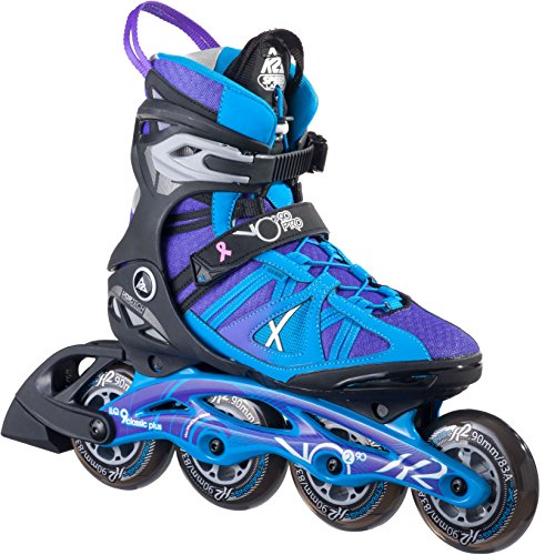 K2 Skate Women's Vo2 90 Pro Inline Skates, Black/Blue/Purple, 9
