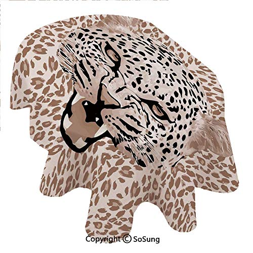 SoSung Modern Oval Polyester Tablecloth,Roaring Leopard Portrait with Rosettes Wild African Animal Big Cat Graphic,Dining Room Kitchen Oval Table Cover, 60 x 84 inches,Cocoa Beige Black