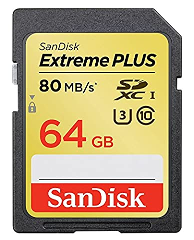 SanDisk Extreme Plus 64GB UHS-1/U3 SDXC Memory Card Up To 80MB/s- SDSDXS-064G-X46 (Label May (Sandisk Extreme Plus 64 Gb Sdhc)