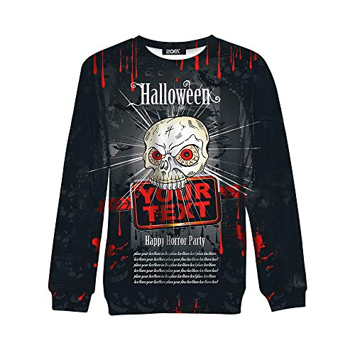 Simmia Sport Sweater Sweatshirt Pullover Jumper Top,Halloween Funny Trick Long-Sleeved Sweater Hoe Forbidden, Black, -