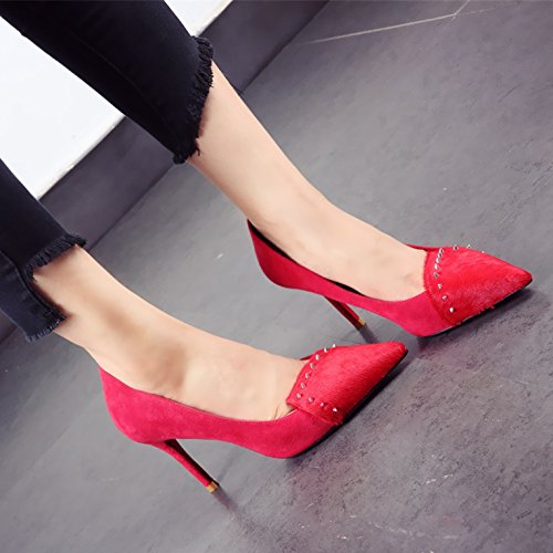 Shoes Women Shoes 36 Sharp MDRW Head Fashion Lady Shoes Single Elegant 9Cm Fine Leisure Spring Rivets Wedding Heel Heels Red Work xBSWfBTUqH