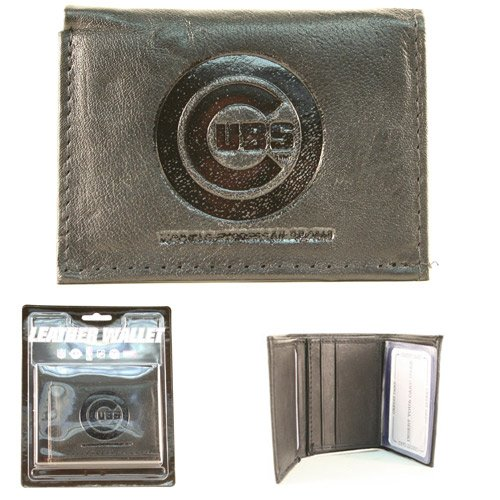 MLB Chicago Cubs Tri-Fold Leather Wallet, Black - Chicago Cubs Black Leather