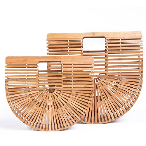 Bamboo Hobo - Womens Bamboo Handbag Small Handmade Summer Beach Bag Tote Purse Hobo Wallet Straw Basket top-handle gift satchel