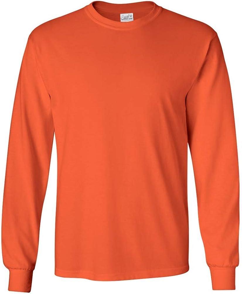 Joe's USA Men's Long Sleeve Cotton Crewneck T-Shirt Orange-S 51Wjjo2cy2BL
