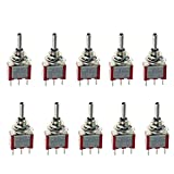 E Support™ On/Off/On Momentary Mini Miniature Toggle Switch Car Dash Dashboard SPDT 3Pin Pack of 10