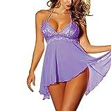 Goddessvan Women's 2Pcs Sexy Plus Size Lingerie Lace Dress Temptation Underwear Set (3XL, Purple)