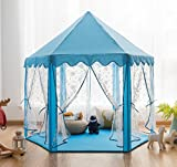 Pericross Snowflake Veil Hexagon Princess Play Tent with Metal Frame and 10M 100 Diodes LED Brasswire Lights and Flash Control (Sky Blue)