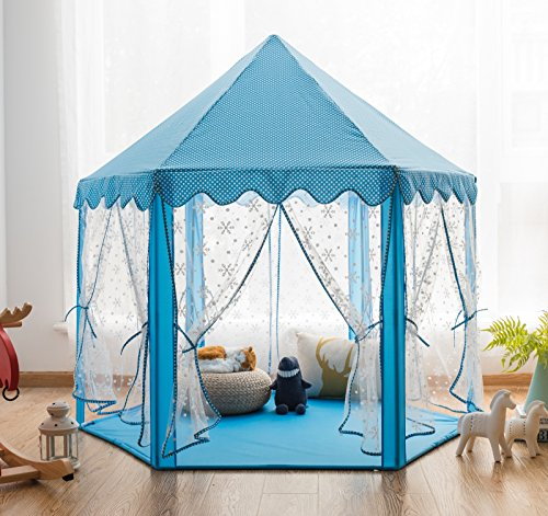 Pericross Snowflake Veil Hexagon Princess Play Tent with Metal Frame and 10M 100 Diodes LED Brasswire Lights and Flash Control (Sky Blue) (Tent Frame Pole)
