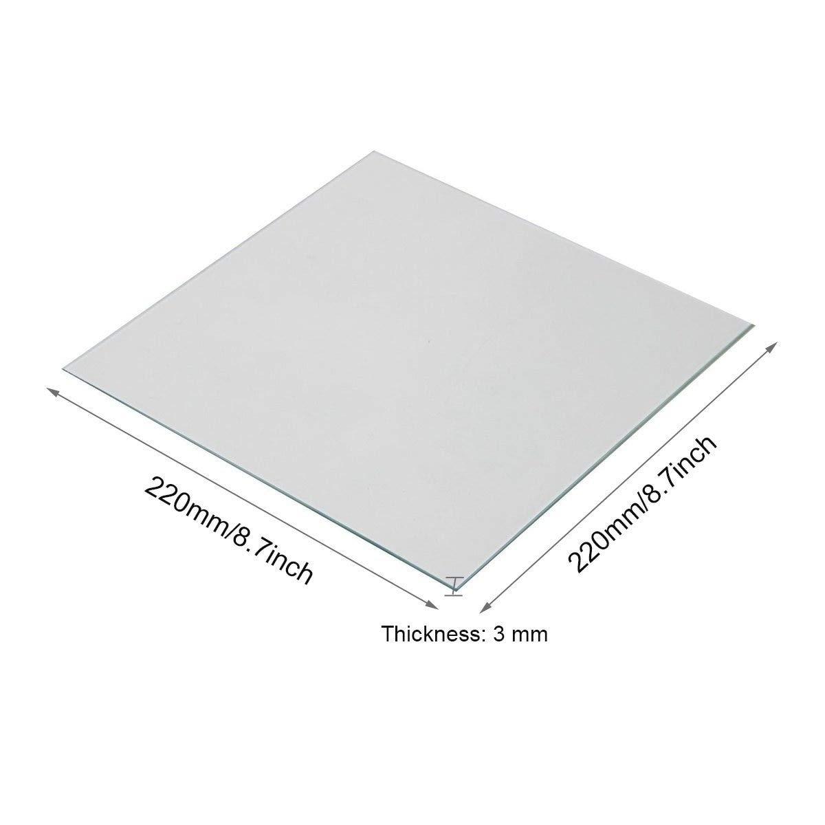 Impresora 3D - Placa de vidrio de borosilicato 220 x 220 x 3 mm ...