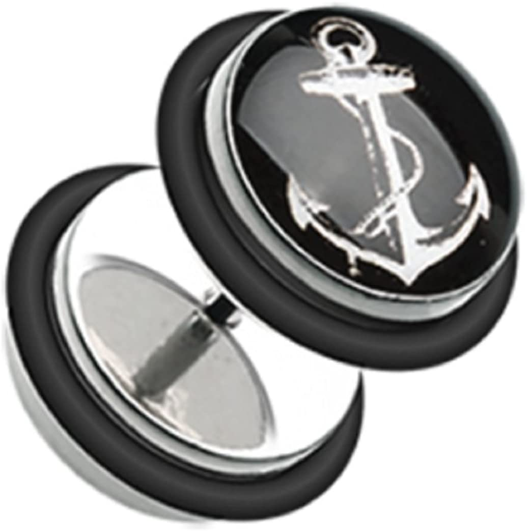 Freedom Fashion Classic Anchor Dock Steel with O-Rings Fake Plug Sold by Pair