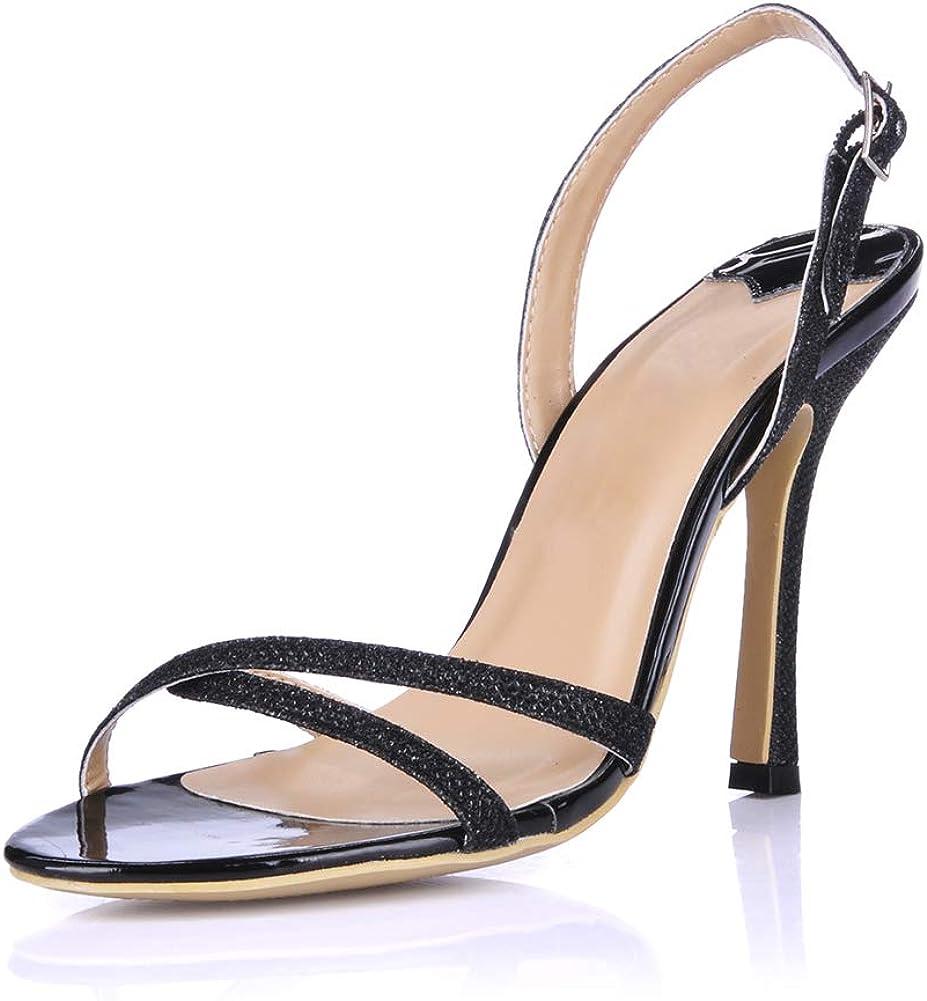 HKDGID Women Ankle Strap High Heel Open Toe Pump Sandals Chunky Heel Formal Party Dress Shoes