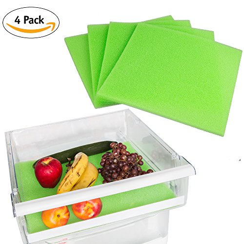 Fruit and Veggie Life Extender Liner by Tenquest 4-Pack, 15X14 Inch, Refrigerator Shelf - Produce Saver, Extends Life and Keeps Refrigerator Fresh Prevents Spoilage -Instructions Included Review.
