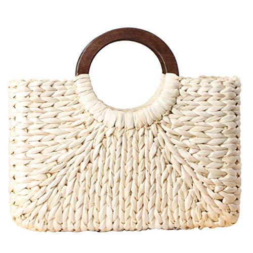 COAFIT Tote Bag Natural Corn Husk Woven Handmade Hobo Bag Hand Tote for Summer (White)