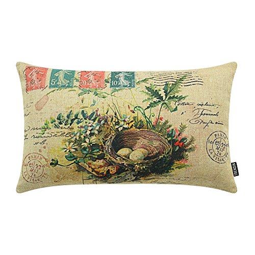 "TRENDIN 20"" X 12"" Vintage Spring Plants Bird's Nest Linen Throw Waist Pillow Case Cushion Cover Sofa Decor (PL096TR)"