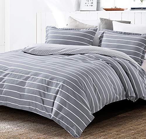 SLEEPBELLA White Gray Striped Duvet Cover Set Queen Reversible Chevron 100% Cotton Bedding Comforter Cover White Stripes Printed on Grey with Button Closure 3pcs (Duvet Queen Chevron)