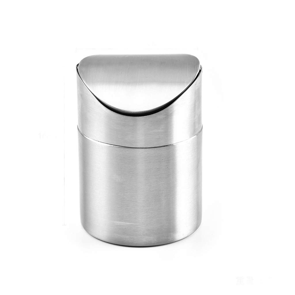 Desktop Trash Can Stainless Steel Mini Trash Bin With Swing Lid