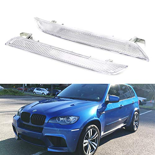 iJDMTOY Euro Clear Lens Front Bumper Side Marker Reflector Lamps For 2008-2014 BMW E71 X6, 2010-2013 BMW E70 X5M, Replace OEM Amber Sidemarker Lamps