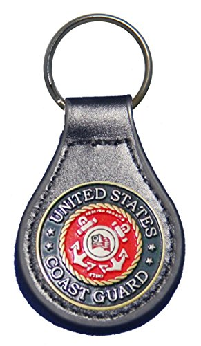 United States Coast Guard leather key fob or keychain Black