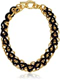 Ben-Amun Jewelry Linked Gold and Navy Braided Choker Necklace, 17""