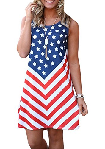 MNLYBABY Women's American Flag July 4th Sleeveless Casual Loose Swing Tunic Dress Size M (Blue)