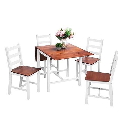 Anaelle Panana Ensemble Table Pliante En Bois 4 Chaises Pour Salle à Manger Cuisine Séjour Café Poids26kg Brunblanc