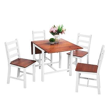 Anaelle Panana Ensemble Table Pliante En Bois 4 Chaises Pour Salle A Manger Cuisine Sejour Cafe Poids 26kg Brun Blanc