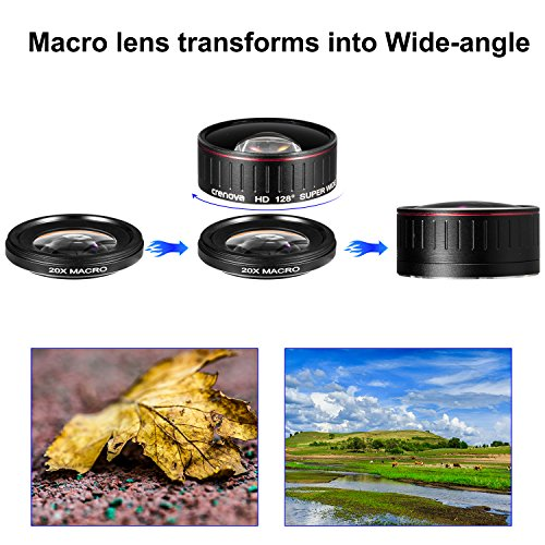 Crenova Phone Camera Lens Kit, 0.45x Wide Angle Lens, HD 128° Super Wide Angle 20X Macro Lens, Clips-On Cell Phone Lens for iPhone/Samsung/Android/Most Smartphones and Tablets by Crenova (Image #5)