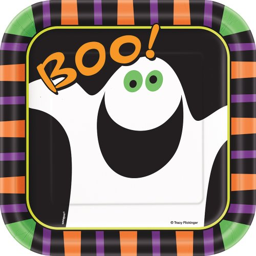 (Square Pumpkin Boo Halloween Dessert Plates,)