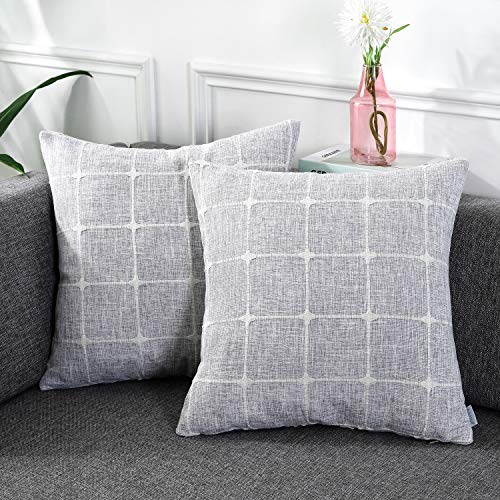AmHoo Plaid Jacquard Throw Pillow Covers Farmhouse Pillowcases Modern Literary Decorative Faux Linen Cushion Covers Set for Sofa Bedroom Car,20×20inch(Set of 2,Light Gray)