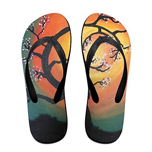 PTJHKET Black Painting Flops for Tree Women Kids Slippers Oil Flip Men rqPwvr