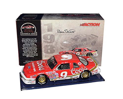 AUTOGRAPHED 1987 Bill Elliott #9 Coors TALLADEGA WORLD RECORD CAR (Historical Series) Winston Cup Series Ford Thunderbird Signed 1/24 Scale NASCAR Diecast Car with COA (1 of only 6,864 produced!) from Trackside Autographs