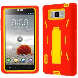 Red Yellow HyBrid Rubber Soft Skin Kickstand Case Hard Cover Faceplate For LG Splendor Venice 730 with Free Pouch