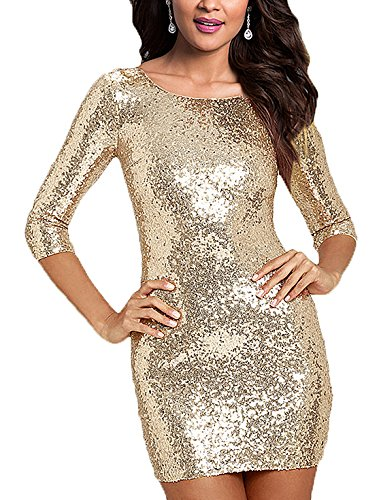SUJAN Women's Long Sleeves Sequins Dresses Party Mini Gown Champagne Gold - Tight Homecoming Dresses