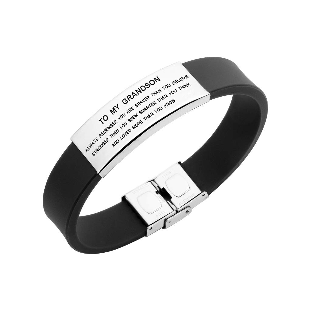 Freedom Love Gift to My Grandson Boys Bracelet Always Remember You are Braver Stronger Courage Quotes (Black)
