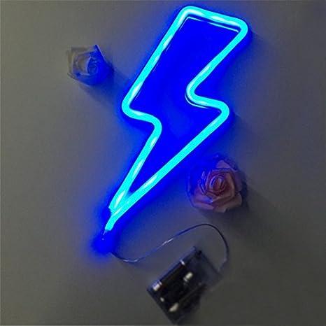 49eeb26ad Hada de noche las luces de neón de LED blanco cálido rayo azul Rosa Luz/batería  USB de alimentación para bebés Dormitorio Bar Casa Fiesta de Navidad: ...