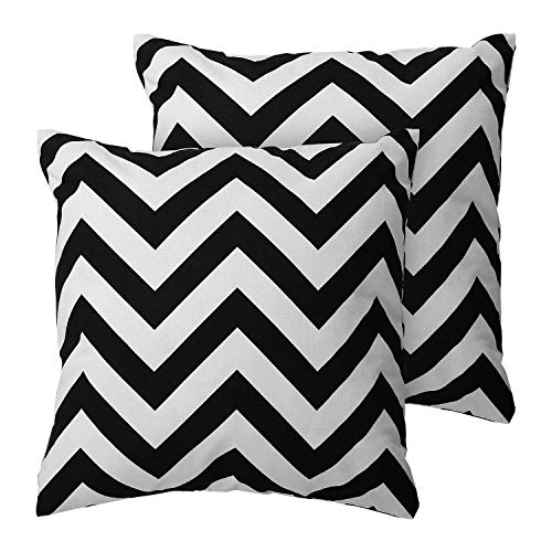 Deconovo Decorative Square Pillow Recycled Cotton Chevron Stripe Print Throw Pillow Cases Pillow Covers Throw Pillows for Couch Cushion Covers 18 x 18 Inch Black 2 PCS (CASE ONLY, NO ()