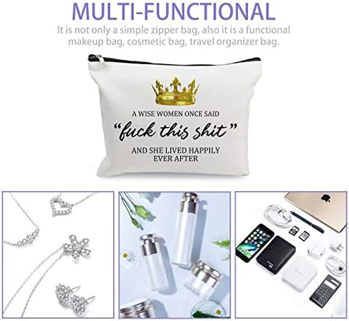 Makeup Cosmetic Bags for Women - Luck This S-hit - Funny Travel Bags Cotton Zipper Pouch for Birthday Retirement Birthday Anniversary Commemorative gifts