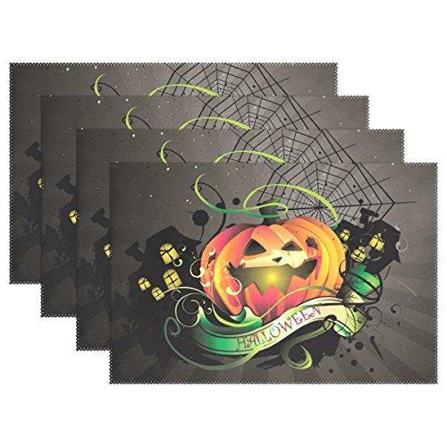 6 PCS Halloween Pumpkin Washable Placemats Table Mats