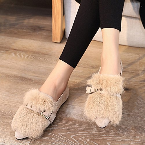 Buckle With JULY COMFRT Belt T Warm Pointed Women Slip Shoes Toe Beige On Synthetic Fur Loafers Flat wAW0xHqp