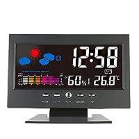 KKmoon ℃/℉ LCD デジタル温度湿度計 LCD温度湿度計 カレンダー/温度トレンドアラーム/快適度/天気予報/音声活性化バックライト USBケーブル付き(単4電池なし)
