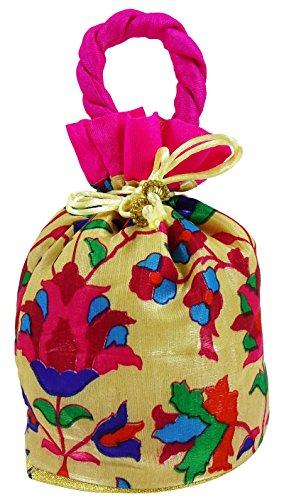 Floral Printed Tradtitional Damas embrague bolso de Indias nupcial mujeres Potli bolso - Elija el color Rosado