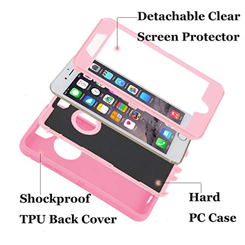Case for iPhone 7 Plus/8 Plus,Heavy Duty 3 in 1 Built-in Screen Protector Cover Dust-Proof Shockproof Drop-Proof Scratch-Resistant Shell for Apple iPhone 7+/8+ 5.5inch,Rose