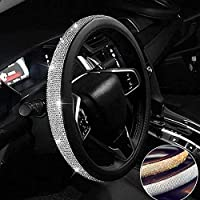 KKmoon Auto Car Novel Shinning Crystal Leather Steering Wheel Cover with Bling Bling Crystal Rhinestones Soft with Beautiful Rhinestones Cool Auto Accessories Black