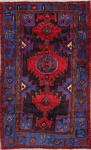 (Tribal Hamadan Persian Design Area Rug Hand-Knotted Wool Geometric Oriental 4x7)
