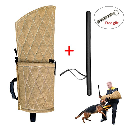 PET ARTIST Jute Dog Biting Training Sleeve Young Dogs Fits Both Left Right Hand Young Dogs PU Leather Whip Stick Set by PET ARTIST