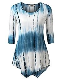 DJT Womens 3/4 Sleeve Tie Dyed Hankerchief Hem Tunic Top