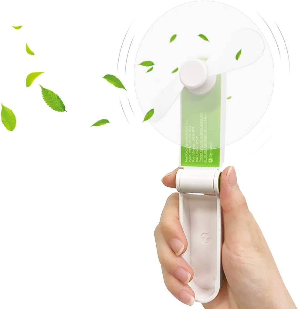 Two Modes Mini Portable Personal Fan USB Rechargeable Green Mini Handheld Portable Folding Pocket Fan USB Rechargeable Battery Operated Desk Fan Small Travel Fans for Home Office Hiking Travelling
