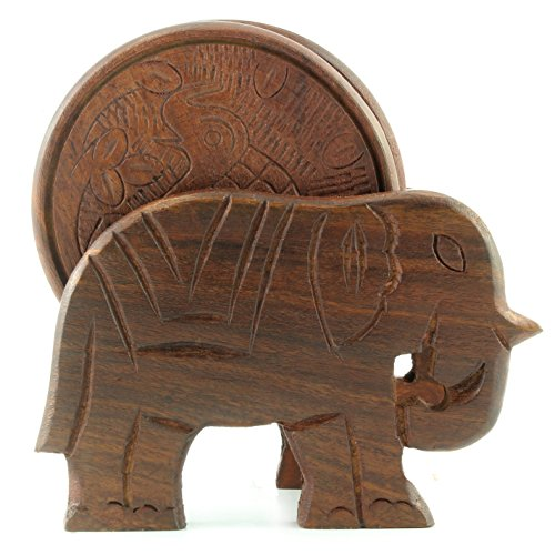 - Elephant Design Wooden Coasters With Holder - set of 6, Handcrafted in India. Great Gifts For Any Occasion, Birthdays, Holidays, Housewarming, Business, Fathers Day and Mothers Day.
